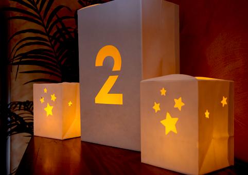 Bolsas de papel para luz con velas estrellas 4 velas - Bolsas de papel para velas ...