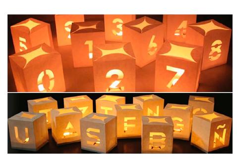 Bolsas de papel para luz con velas letras y n meros de - Bolsas de papel para velas ...
