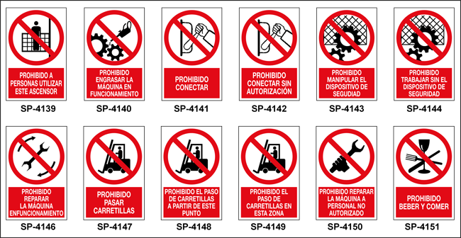 Señales De Prohibición Con Pictograma + Texto